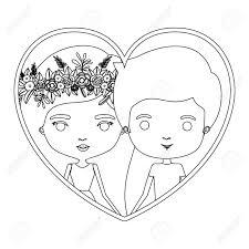 モノクロ シルエット心形肖像画似顔絵カップル彼女とカジュアルな服装で花の冠と彼長いストレートの髪とド