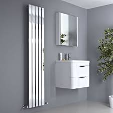 Slimline Designer Radiators Milano Alpha Chrome Vertical Slim Panel Designer Radiator