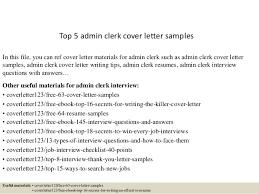 Cover Letter For Admin Clerk Top 5 Admin Clerk Cover Letter Samples