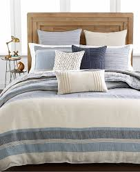 com hotel collection linen stripe beige and blue full queen duvet cover home kitchen