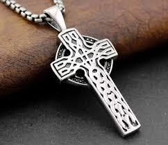 mens 316l stainless steel vintage celtic cross pendant necklace snya73387