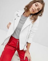 coats jackets vero moda leather look biker jacket with buckles women white