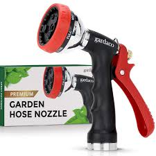 8 top garden hose nozzle review dependable garden hose nozzle with easy grip handle and 7 pattern aluminum water spray for easy extended use red