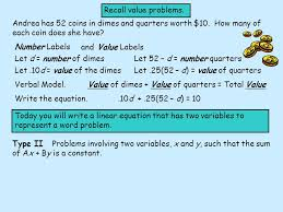 recall value problems andrea has 52 coins in dimes and quarters worth 10 how