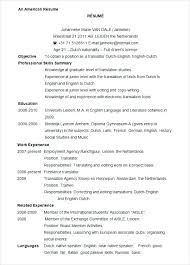 Standard Format Resume Amazing American Format Resume Wlcolombia