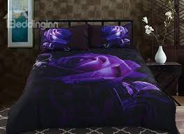 67 3d purple rose printed polyester 5 piece comforter sets