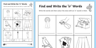Students work on starting and finishing words. Words With Ir In Them Phonics Activity Sheets Ks1