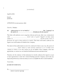 Letter Authorizing Agent To Negotiate Legal Forms And Business