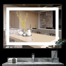 Wall Mirror With Lights Bath Knot Etl Led Wall Mounted Backlit Mirror With Lights Bathroom Led Light Make Up Mirror Super White Color Lighted Mirror 48 X 36 Inch