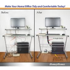 office cable tidy. HomeyHomes Cable Management Sleeve And Wire Labels System - Extendable Cord Organizers Kit With Zipper Office Tidy A