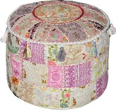 white Bohemian Vintage <b>Patchwork</b> Indian Handmade <b>Pouf</b> Large ...