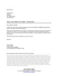Final Demand For Payment Letter Template Sample Form Biztree Com