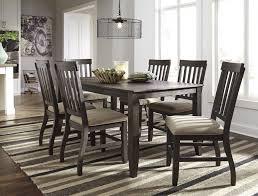 dresbar grayish brown rectangular dining room table 6 uph side chairs