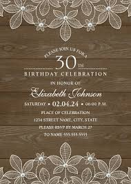 country wood 30th birthday invitations lace and pearls party cards