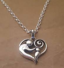 child pendant sterling silver heart