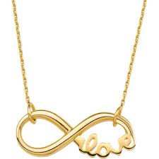 14k yellow gold side by side infinity necklace