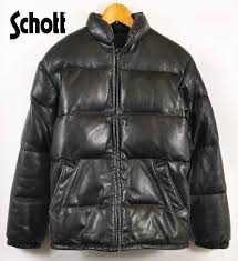 made in usa schott shot leather down jacket black leather 32 men s xs equivalency
