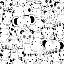 Cute thin line <b>animals cartoon</b> doodle seamless <b>pattern</b> Premium ...
