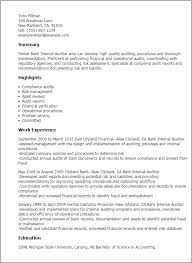 1 Bank Internal Auditor Resume Templates Try Them Now