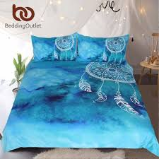 bedding watercolor dreamcatcher bedding set king blue bedclothes for kids luxury chinese style quilt cover