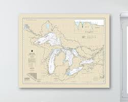 Print Of Antique Great Lakes Nautical Chart On Photo Paper