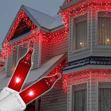 Hanging Icicle Lights On House Red Icicle Lights White Wire Icicle Christmas Lights