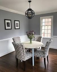 trending paint colors for dining rooms awesome chair rail molding divides two toned walls in this