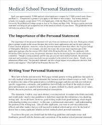 Sample Personal Statement For Medical School        Examples In Pdf with  regard to Med School Personal Statement Examples