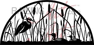 laser cut loon and heron semi circle wall decor