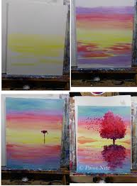 red tree and rainbow sunset painting step by step reflection on the wind process