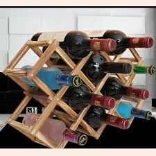 Wooden Wine Rack 10 <b>Bottle Holder</b> Bar Display Shelf Folding ...