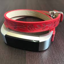 fitbit alta hr vegan red leather band