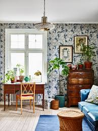 Wallpapered Living Rooms House Tour A Welcoming Swedish Home In Bold Blues Coco Kelley