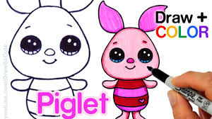 baby piglet drawings. Interesting Piglet How To Draw  Color Piglet Easy From Winnie The Pooh  Disney Cuties  YouTube In Baby Drawings O
