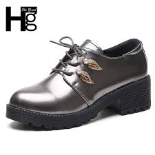 dress shoes hee grand pu patent leather women oxfords lace up metal decoration black silver women round toe women loafers xwd6920 shoes for men