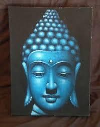 hand painted buddha face head canvas