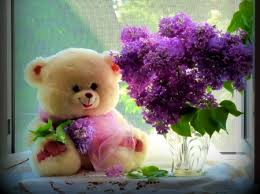 teddy bear with purple flowers picture