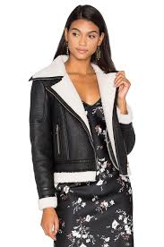 glamorous wool leather jacket with faux sherpa lining in black