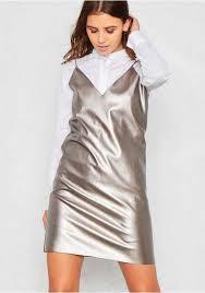 limited edition women metallic mayhem white metallic silver kaira ml169973 soft material faux leather shirt dress slip dress leather by clothing