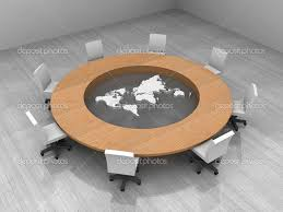 ilration of a conference room with a round table and world map round conference table