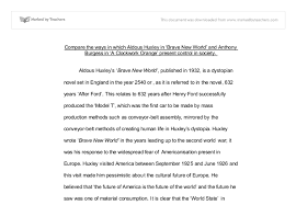 compare the ways in which aldous huxley in brave new world and  document image preview