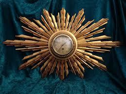 art deco starburst gilt wood wall clock