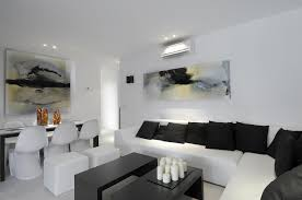 Black And White Living Room Conncetec With Dining Room With Picture Wall  Art Idea