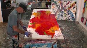 how to paint large abstract fluid artworks demo art lesson ideas you