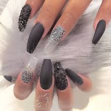 add black and white glitters and black beads for your coffin nail art