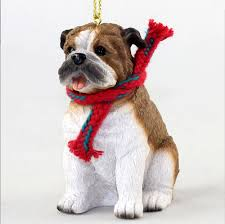 Bulldog Dog Christmas Ornament Scarf Figurine -