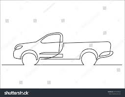 Continuous Line Drawing Pickup Truck Stock Vector (Royalty Free ...