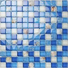 crystal resin conch tile kitchen backsplash bathroom flooring sea blue le glass bar table shower wall