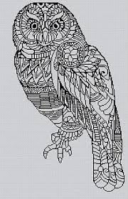 Blackwork Cross Stitch Charts Blackwork Owl 17 Cross Stitch Chart Ebay
