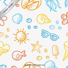 Summer Pattern Magnificent Summer Pattern In Hand Drawn Style Vector Free Download